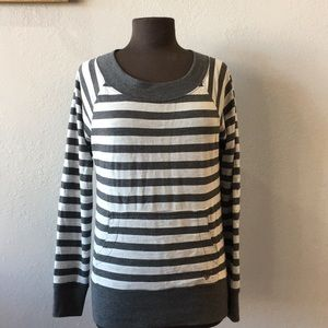 Roxy Gray Dark Gray Striped Scoop Neck Sweatshirt